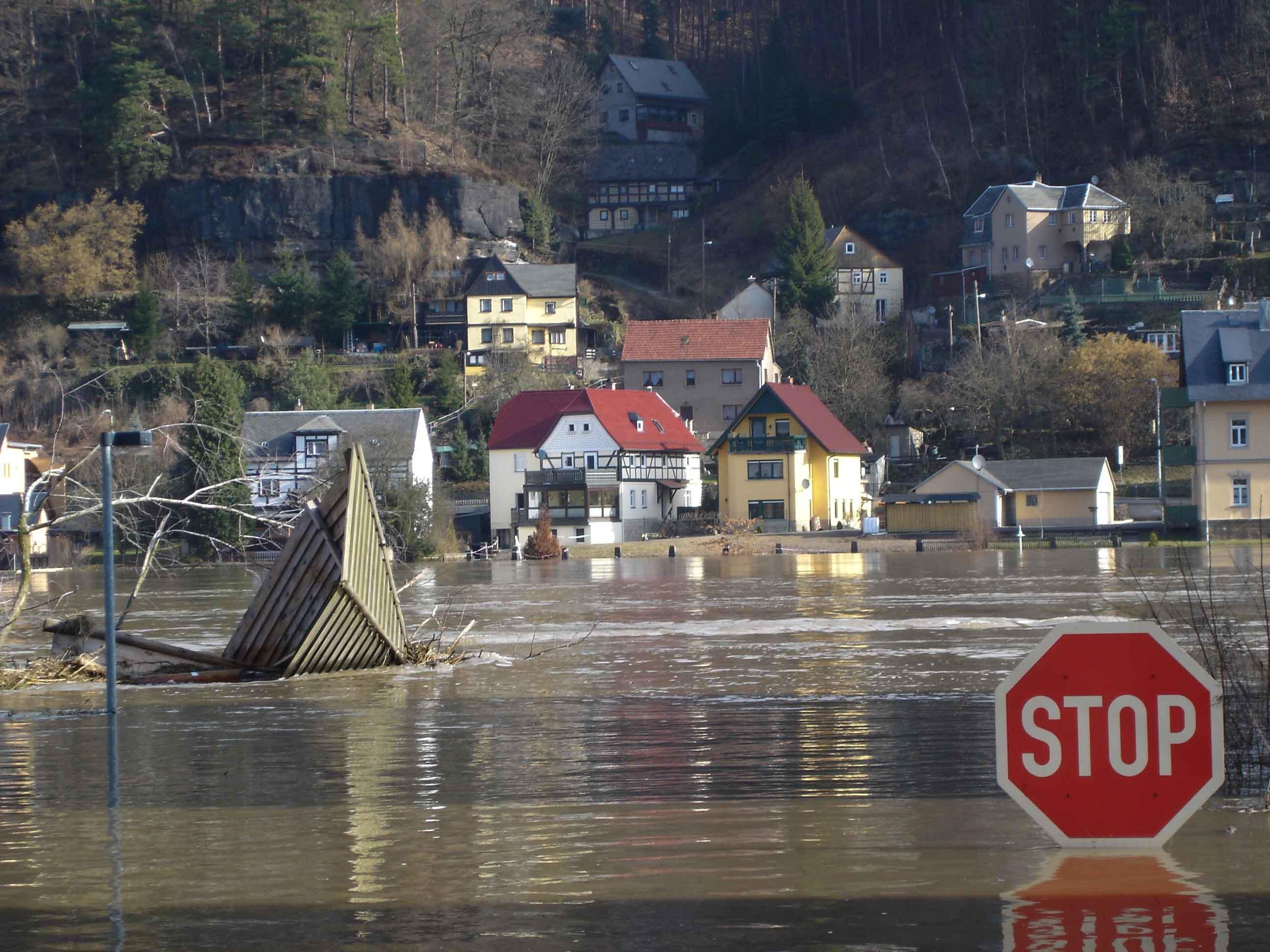 Hochwasser 2006 - Blick von Krippen nach Postelwitz