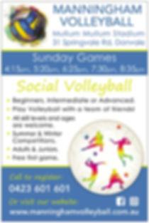 Manningham Volleyball Sunday Games Flyer