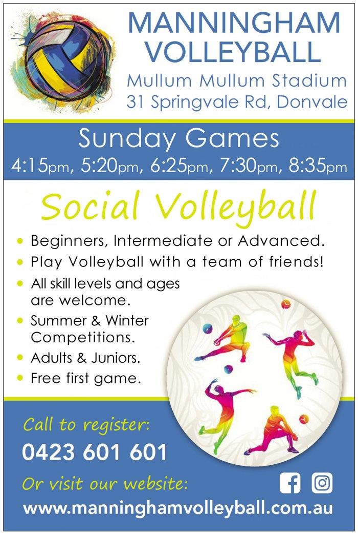 Manningham Volleyball Sunday Games Flyer