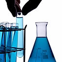 Lab bottles and test tubes from material testing lab