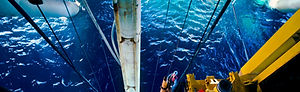 View looking down from a semisubmersible rig