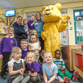 Pudsey Bear visits children at Rosedene Nursery