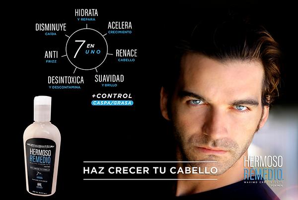 Publicidad Hombre Atractivo con Shampoo Hermoso Remedio for Men para hombre y beneficios
