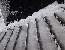 Bad weather. Icy stairs. It is life thre
