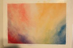 Je commence à peindre sur ma feuille