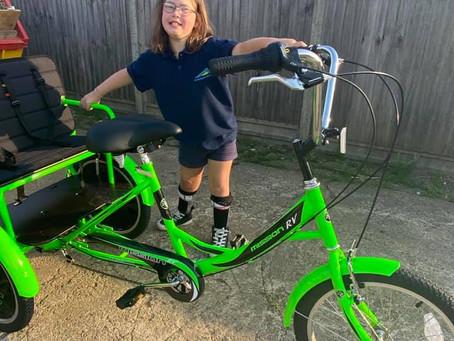 Rachel get's on her bike