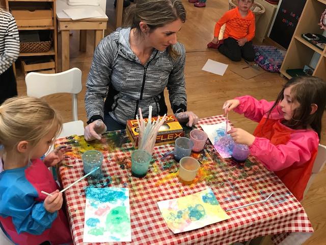 Girls doing an art lesson