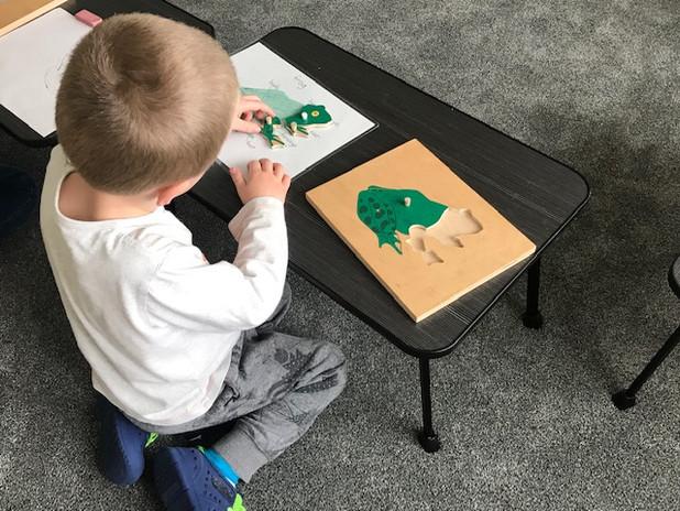 Child doing a Montessori lesson
