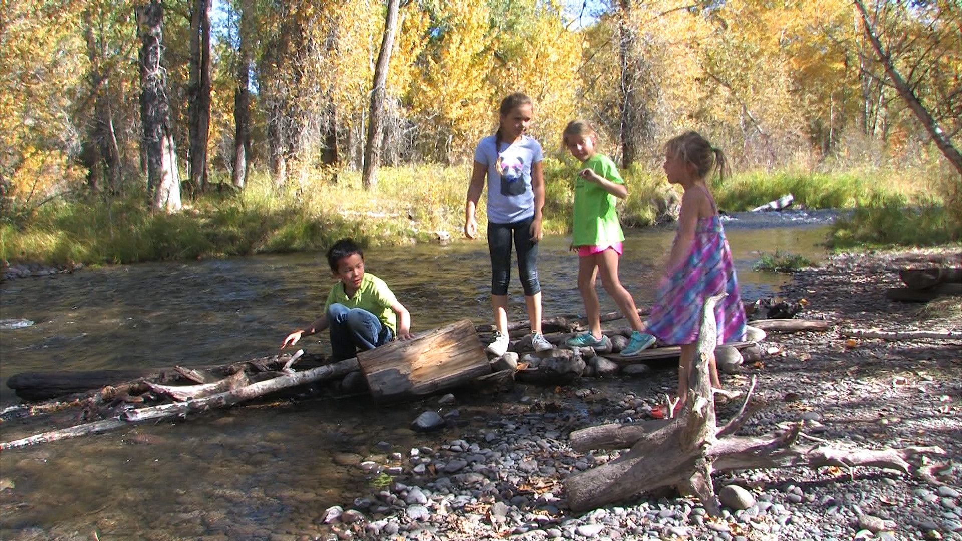 Children playing by Middle Creek