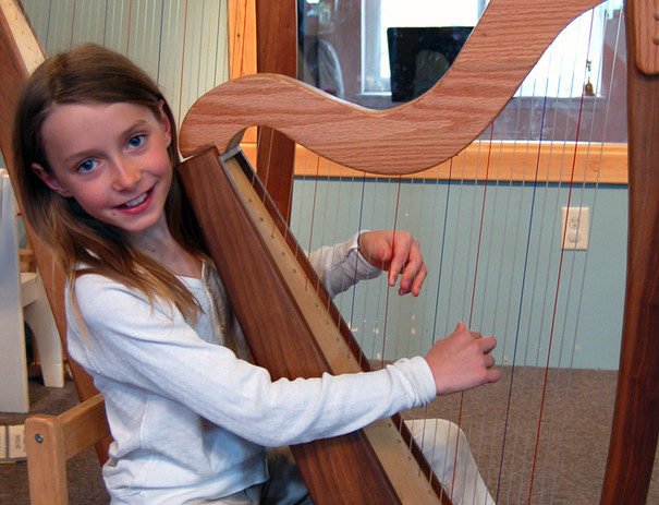 Playing the harp during Elementary band