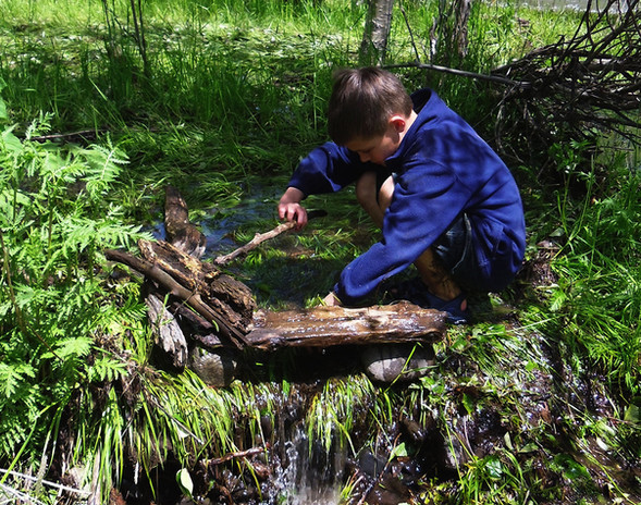 Child playing in stream