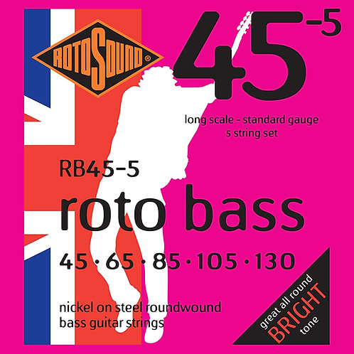 Rotosound RB45-5 Nickel 5-String Bass Guitar Strings (45-130) Standard LongScale