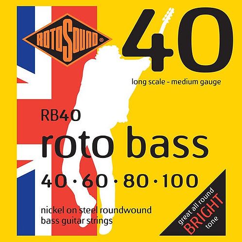 Rotosound RB40 Nickel Bass Guitar Strings (40-100) Medium Long Scale