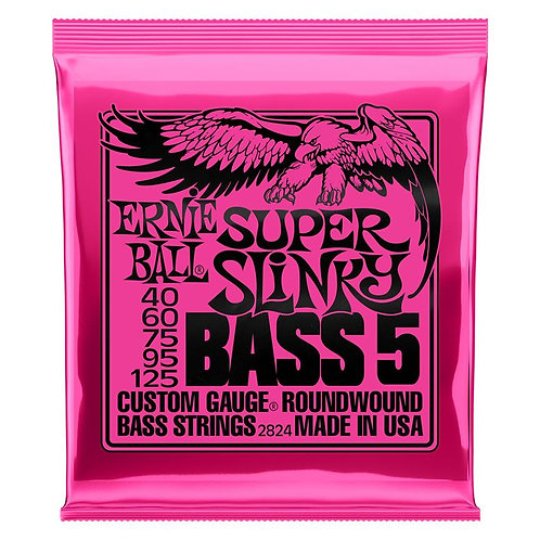 Ernie Ball Super Slinky 5-String Bass Guitar Strings (40-125) Roundwound