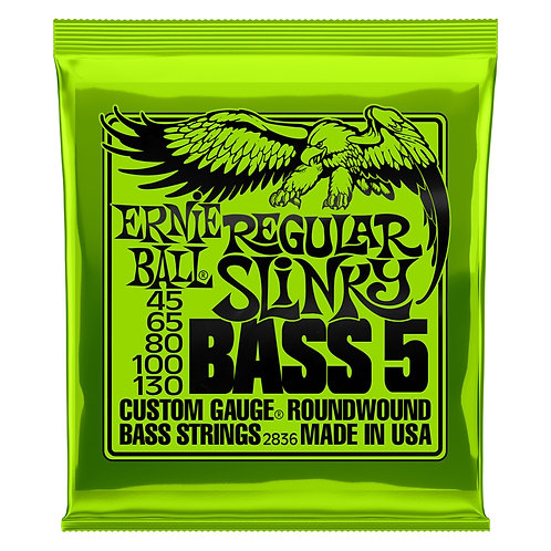 Ernie Ball Regular Slinky 5-String Bass Guitar Strings (45-130) Roundwound