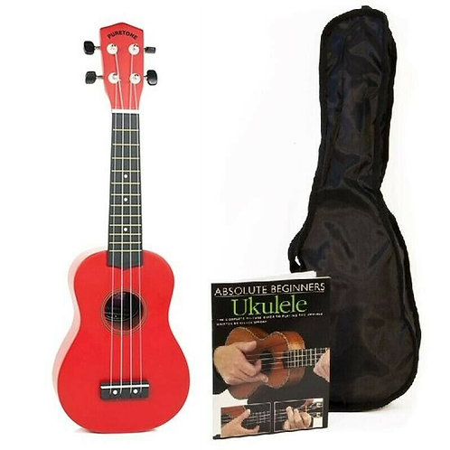 PureTone Pack: Soprano Ukulele in Red, Soft Bag & Lesson Book