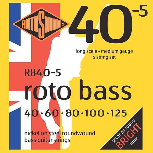 Rotosound RB40-5 Nickel 5-String Bass Guitar Strings (40-125) Medium Long Scale