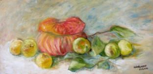 'Pumpkin and apples' oil on masonite, 57.5 x 30 cm