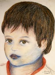 'Claudio 4 years' - Pastel on cardboard,18x24 cm