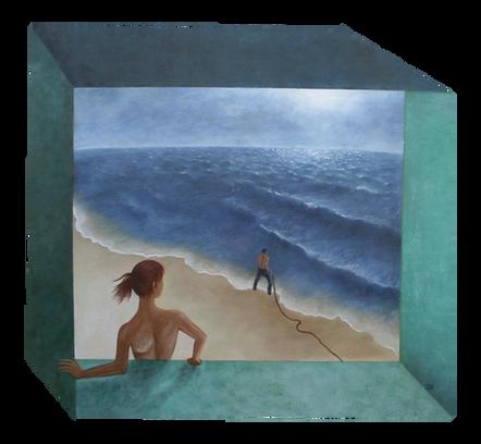 'Departure' - Oil on wood irregular polygon,60.55 x 55.6 cm
