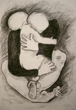 Maternity 3, charcoal on cardboard 33x48 cm