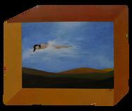 'Quietem' -oil on wood irregular polygon 50.3 x 40 cm