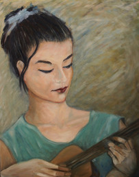'Sarah'-Portrait from film, oil on wood,40x50 cm