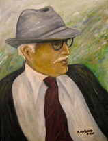 'Hugo' - Oil on wood, portrait from foto,20x40 cm