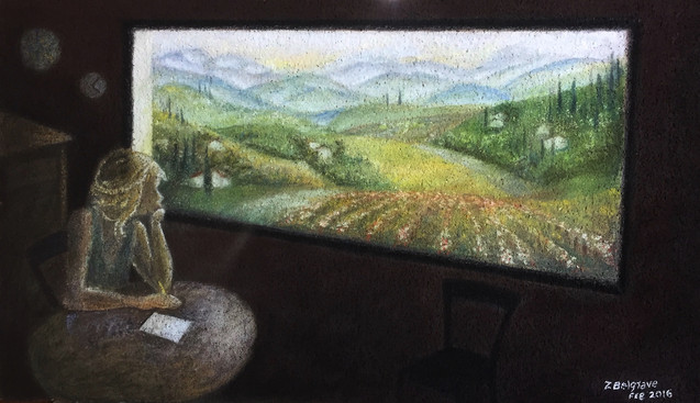 'Stained Glass' - tempera and pastel on cork, 79x45 cm