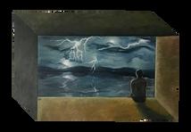 'Lightning of the Catatumbo' - Oil on wood irregular polygon, 44.3 x 29.2 cm