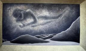 'Milky Way' - Oil on wood,120 x 65 cm