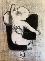 Maternity 5, charcoal on cardboard, 31x35.5