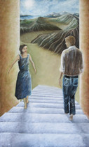 'Arrival and return' - Oil on wood, 62.1x102.8 cm.