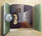 'Telescope' - Oil on wood,55.5 x 48.5 cm