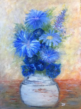 'Blue flowers' - Oil on wood, 17x24 cm
