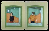 'The neighbors' - Oil diptych on wood of 33 x40 each