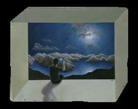 'Tablet' - oil on wood irregular polygon 81.5 X 65 cm.81.5 X 65 cm