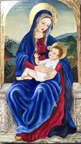 'Madonna and Child' -Icon taken from ancient images; eggtempera and gold leaf on wood. 36 x 22 cm