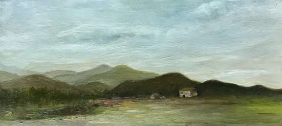 'Small landscape' Oil on wood 16x35 cm
