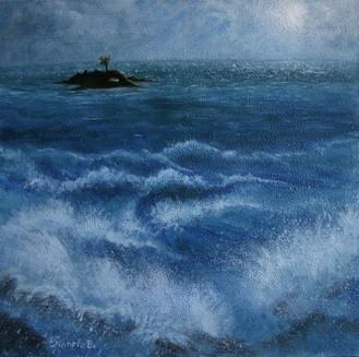 'Island alone' - Oil on wood23.6x44.5 cm