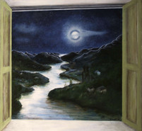 'Window on the river'- Oil on wood,23.6x44.5 cm.