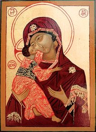 Copy of 'Vladimirskaya' -early c. 16thegg tempera and gold leaf, 25x33cm