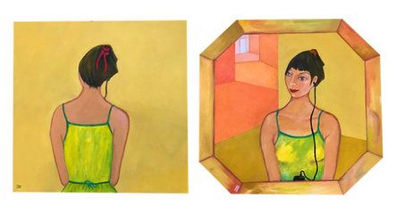 'Mobile phone' - Oil diptych on wood 33.2x21.2 each