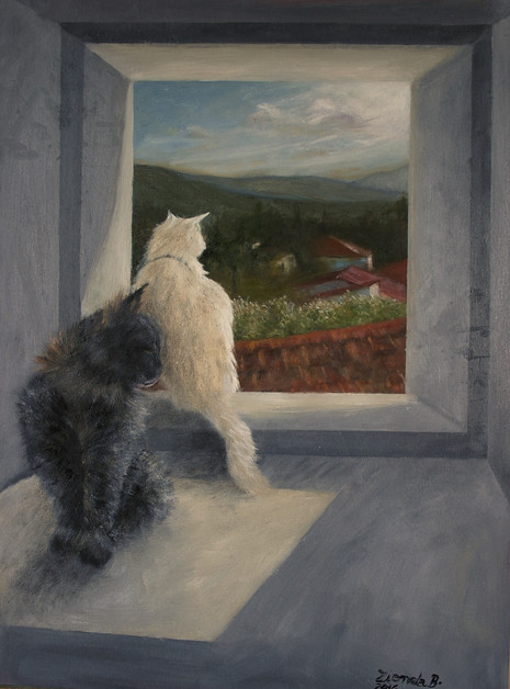 'Cats in Casole' -Oil on wood, 30x40cm