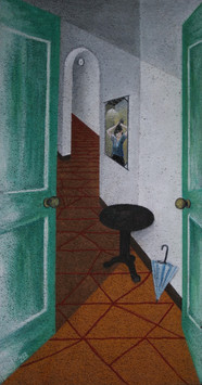 'Corridor' - Tempera, pencil and pastel on cork, 85 x 44.8 cm