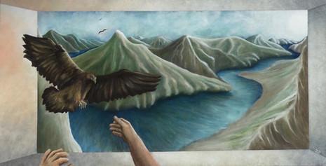 'Hawk' - Oil on wood 87.2 x 44.7 cm