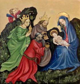 Copy of 'Adoration' - C. 1410, egg tempera and gold leaf on wood, 26x22 cm