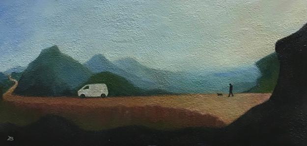 'Van'- Oil on wood, 41 x 15 cm