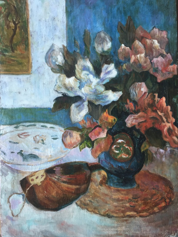 Copy of 'Still life with mandolin' by P. Gauguin, oil on canvas 26.3x38 cm.