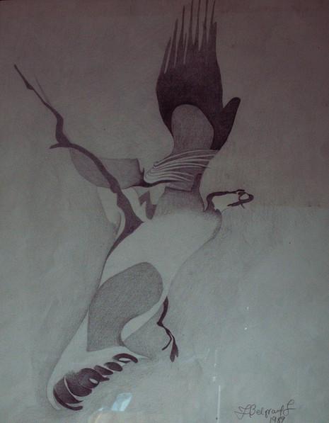 'Moments of Flight'pencil on cardboard, 34.5x28 cm